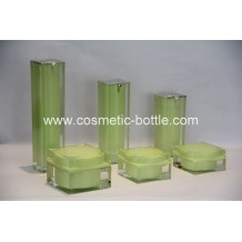 Square acrylic bottles and jars green color(FA-03)